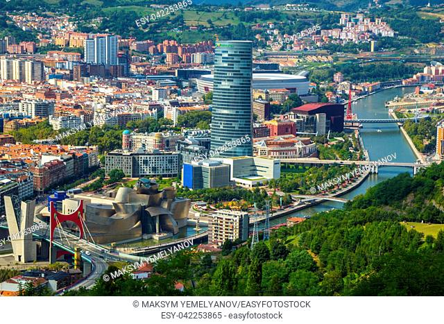 Aerial view of Bilbao city, Biscay, Basque country. Spain