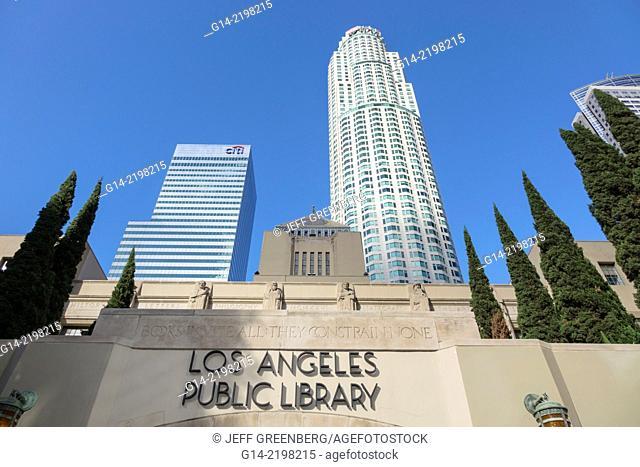 California, CA, Los Angeles, L.A., Downtown, city skyline, Los Angeles Public Library, Richard J. Riordan Central Library, Goodhue building, historic, 1926