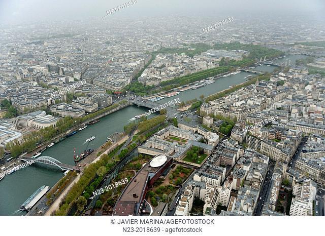 Views from Eiffel Tower, Paris, France