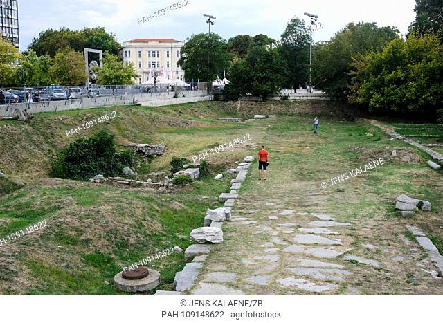 12.09.2018, Bulgaria, Plovdiv: The ancient Roman Forum in the center. Plovdiv is the oldest inhabited city in Europe and one of the oldest in the world