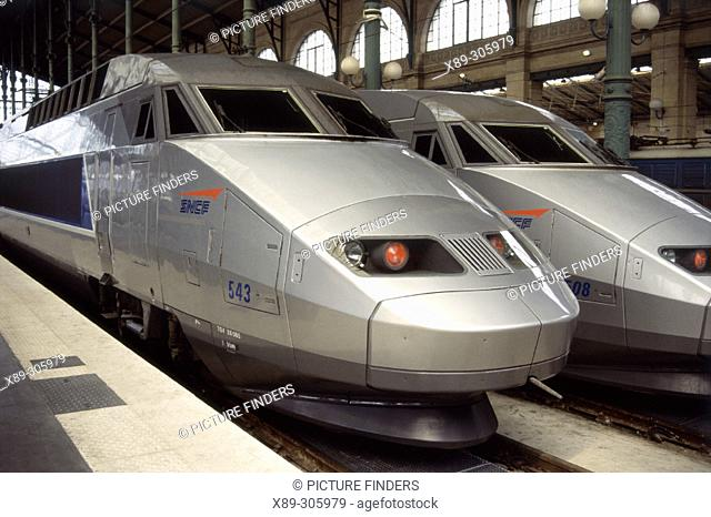 SNCF high-speed train at Gare du Lyon. Paris. France