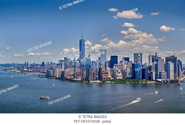 Aerial view of Manhattan and New York City skyline