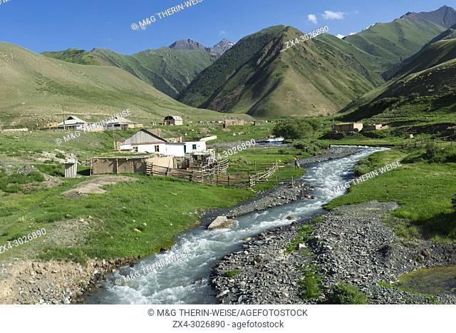 Settlement along a mountain river, Naryn gorge, Naryn Region, Kyrgyzstan