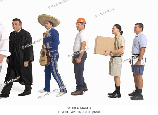 Postal worker, delivery man, mariachi, judge and construction worker standing in line