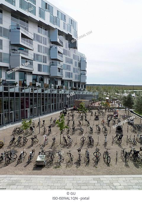 View of 8 House apartments and bicycle park, Copenhagen, Denmark