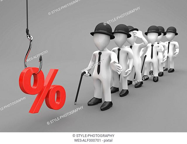 3D Illustration, discount trap, fishhook with red percent and manikins