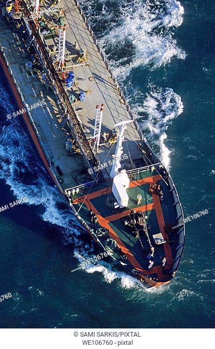 Oil tanker on the Mediterranean Sea heading towards Fos Sur Mer Port, France