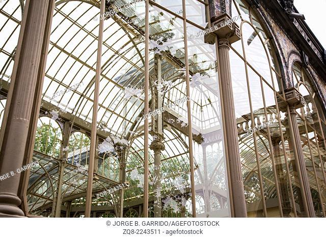 The Crystal Palace (Palacio de Cristal) Buen Retiro Park in Madrid, Spain