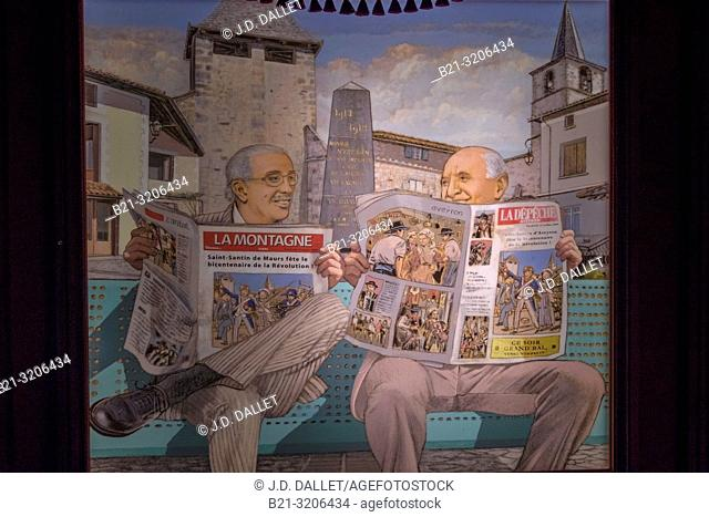 """France, Occitanie, Aveyron, at the """"""""Pierre and Marie Museum"""""""" at Saint Santin d'Aveyron. Poster of the two mayor from Saint Santin de Maurs (Cantal) and Saint..."""