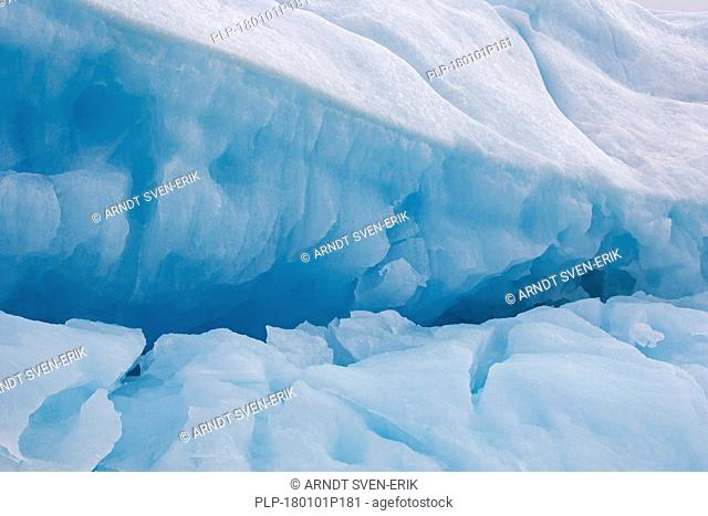 Ice structure of melting iceberg in the Arctic Ocean, Svalbard / Spitsbergen, Norway