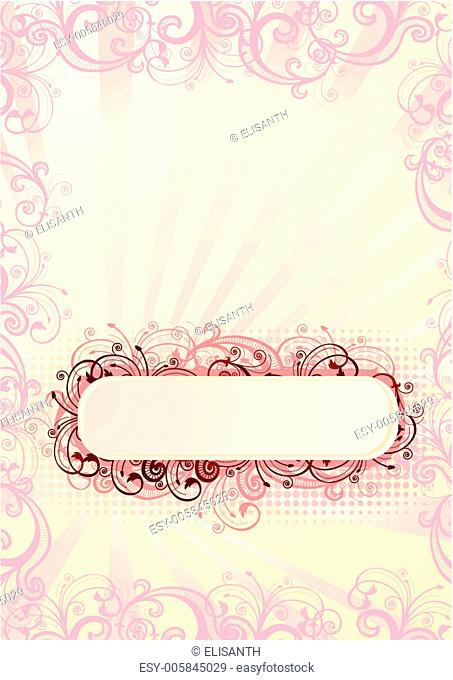 Vector illustration of romantic floral frame