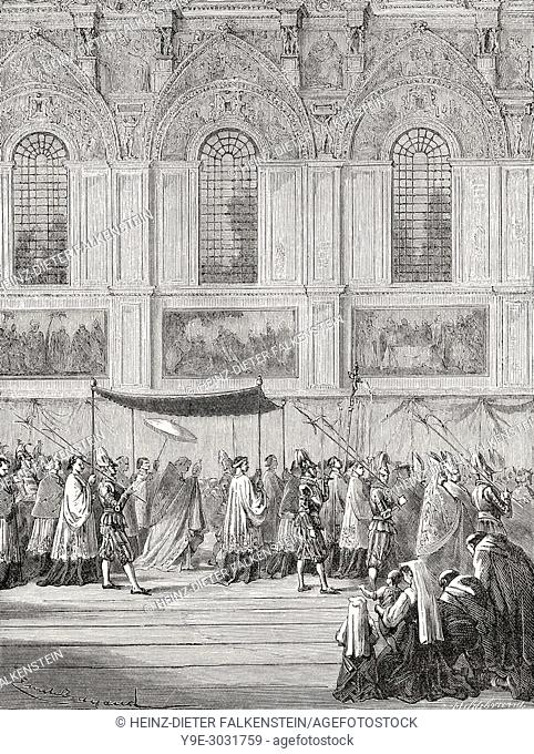 Pope Pius IX bearing the holy sacrament, Sistine Chapel, Vatican City, Rome, Italy, 19th Century
