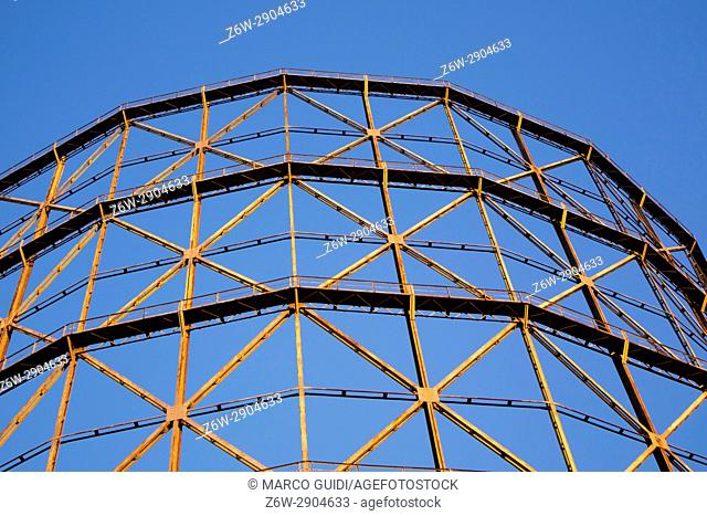 Old metal frame made for a gasometer in Rome Italy