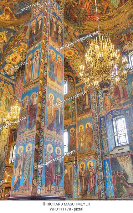 Wall frescos, Church on Spilled Blood (Resurrection Church of Our Saviour), UNESCO World Heritage Site, St. Petersburg, Russia, Europe
