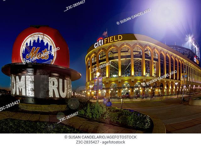 New York Mets Citi Field Stadium - Exterior view during twilight to Citi Field Stadium. Citi field is home to the New York City Mets National League Mayor...