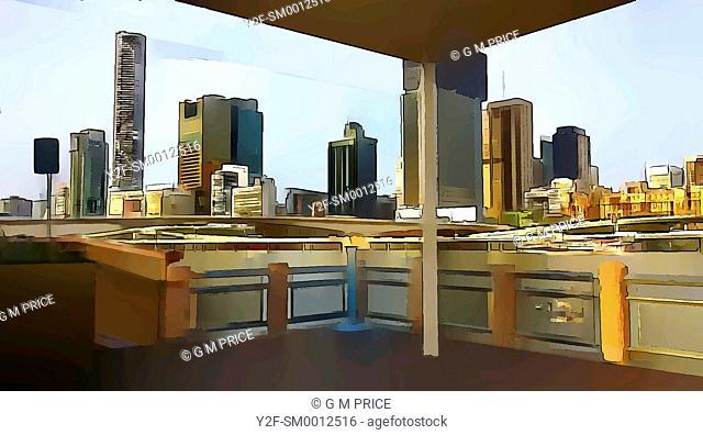 cartoon filter view of Brisbane River ferry wharf and Brisbane city skyline