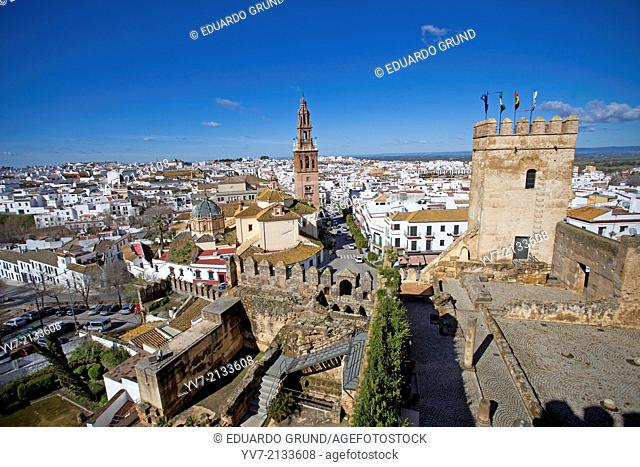 Bell tower of the Church of Saint Peter and panoramic view Carmona from the Alcazar Door Sevilla. Carmona, Seville, Andalusia, Spain, Europe