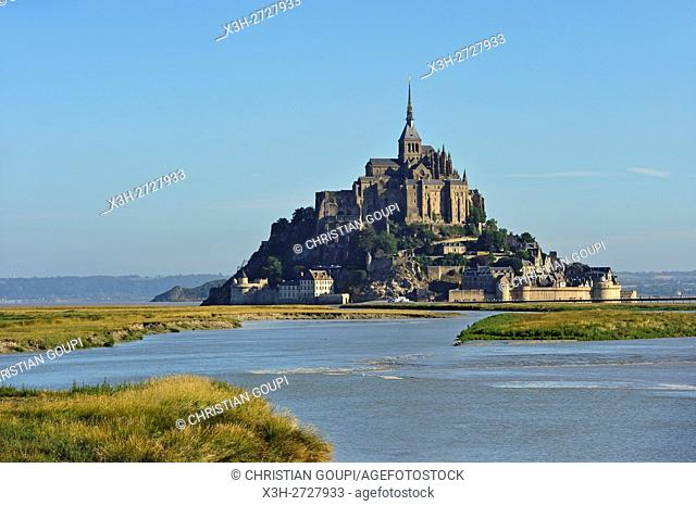 Mont-Saint-Michel in the mouth of the Couesnon river, Manche department, Normandy region, France, Europe