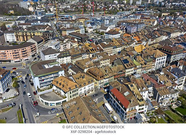 Aerial shot of the old town of Morges, Vaud, Switzerland