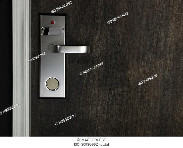 Key in a hotel room door