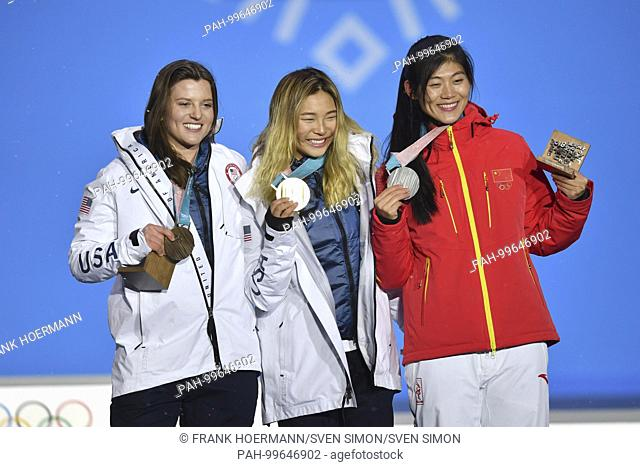 von links:.Arielle GOLD, USA, 3. Platz, Bronze, Bronzemedaille, Bronzemedaillengewinnerin, .KIM Chloe, USA, 1. Platz, Goldmedaillengewinnerin, Gold
