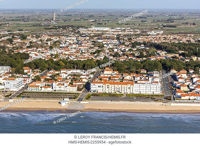 France, Vendee, Notre Dame de Monts, the beach and the seaside resort (aerial view)