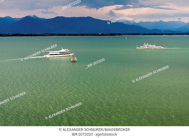 Two ships of the BSB shipping line meet outside of Lindau in Lake Constance, views towards Bregenz and Vorarlberg region in Austria, Lindau, Bavaria, Germany