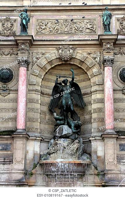 Fountain Saint-Michel in Paris, France