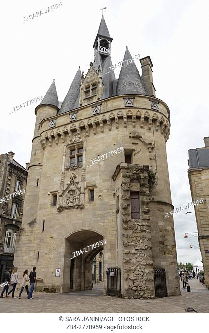 The Medieval Cailhau city gate in Bordeaux, Gironde, France