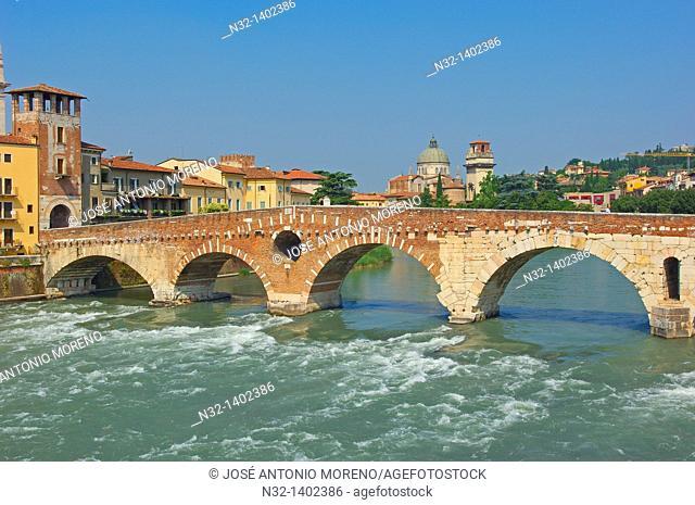 Verona  The Stone bridge  Ponte di petra  Adige river  Sant Giorgio in Braida church  Veneto  Italy  Europe