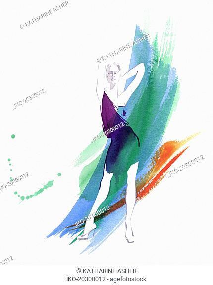 Fashion model posing against watercolour brush strokes