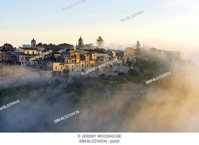 Fog over cityscape