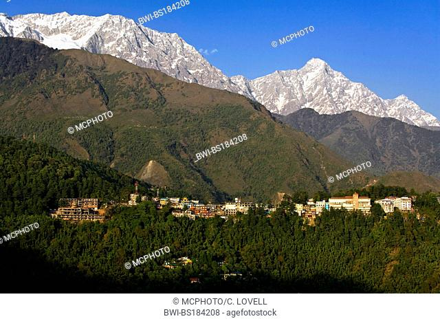 MCLEOD GANJ in the HIMALAYAN FOOTHILLS was originally a British Hill Station and is now the home of the 14th Dalai Lama in exile, India, Dharesamsala