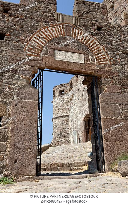 Historical entrance gate to the castle of Mithymna , Lesbos, Greece