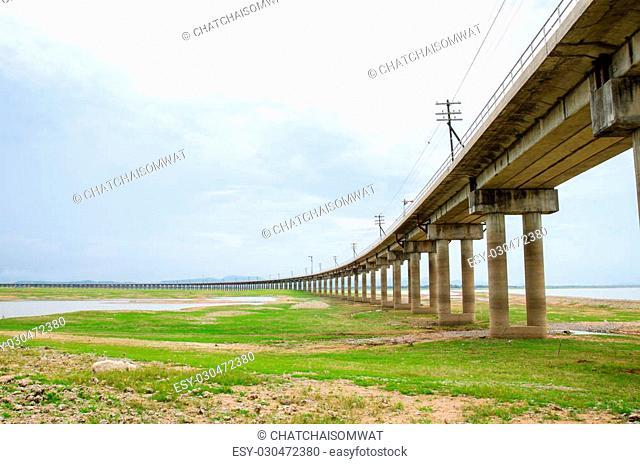 Railroad tracks into the reservoir, Pa Sak Jolasid Dam, Lopburi Thailand