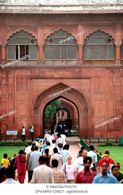 Diwan-I-Am or the Hall of public Audience used by the Emperor ; UNESCO World Heritage site the famous Delhi fort also known as Lal Qila  or Red Fort constructed...