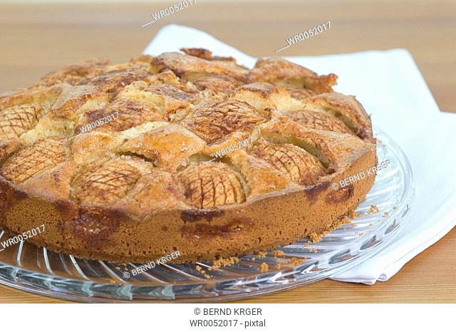 Apple pie on glass