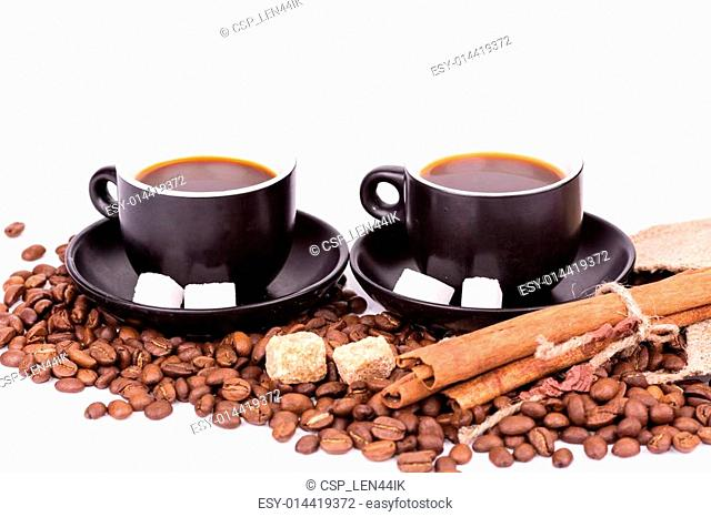 Two cups of coffee. Coffee break concept