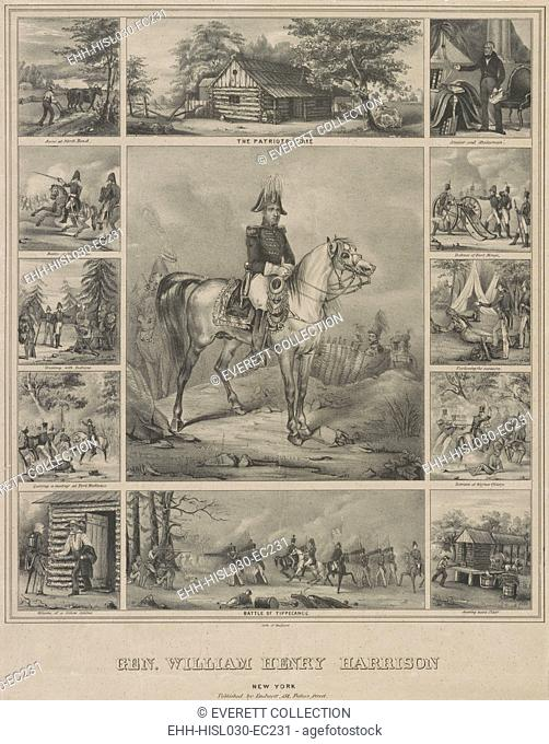 Scenes from the life of 1840 Whig Presidential candidate William Henry Harrison. The print was published during Harrison's successful 1840 campaign for the...
