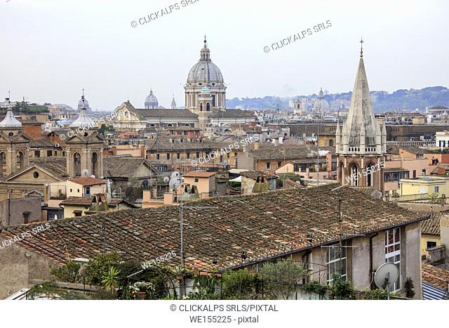 The city view from the Pincian Hill with the typical houses and ancient domes of churches Rome Lazio Italy Europe