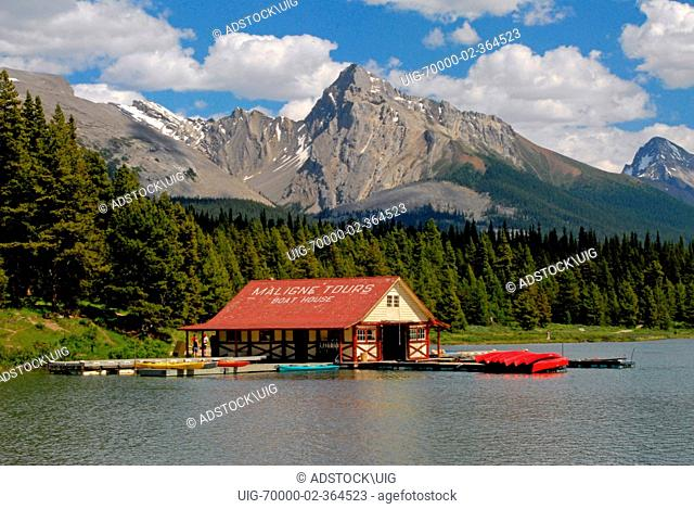 A shot of the boathouse on Maligne Lake taken in the summertime