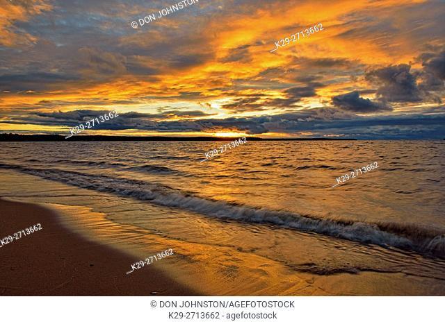Lake Superior shoreline at sunset, Munising, Michigan, USA