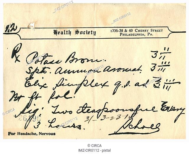 A vintage medical prescription for headache and nervousness