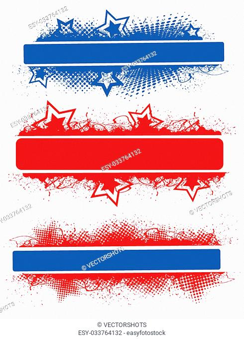 Drawing Art of Banners Designs - Patriotic USA Theme Vector