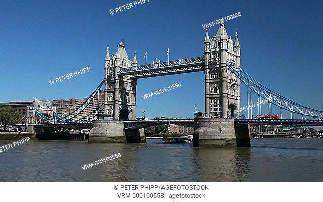 Tower Bridge and the River Thames on a briiliant summers day