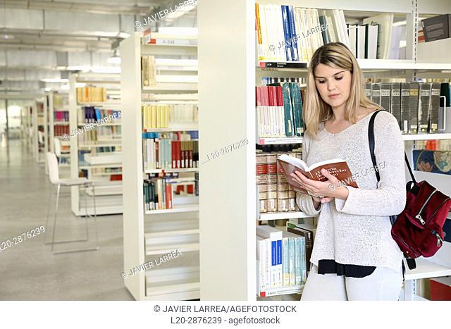 Student in the library, University of the Basque Country, Donostia, San Sebastian, Spain