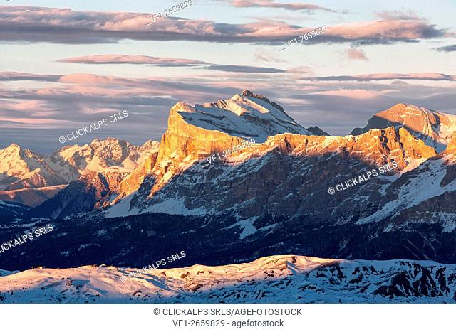 Sas dla Crusc or more commonly known as Sasso di Santa Croce, iconic mountain in Val Badia, South Tyrol, Italy