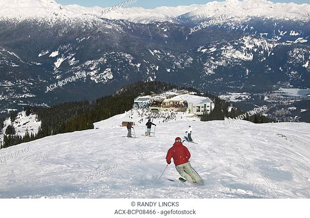 The Round House on Whistler Mountain, Whistler Village in Background, Whistler, British Columbia, Canada