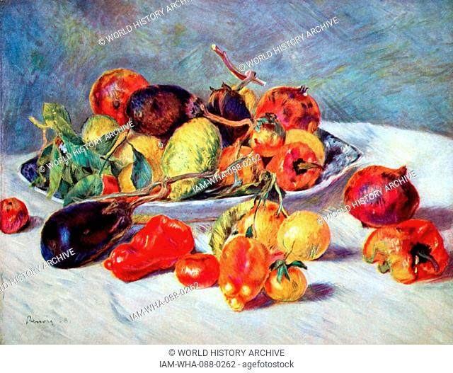 Painting titled 'Fruits of the Midi' by Pierre-Auguste Renoir (1841-1919) a French artist. Dated 19th Century