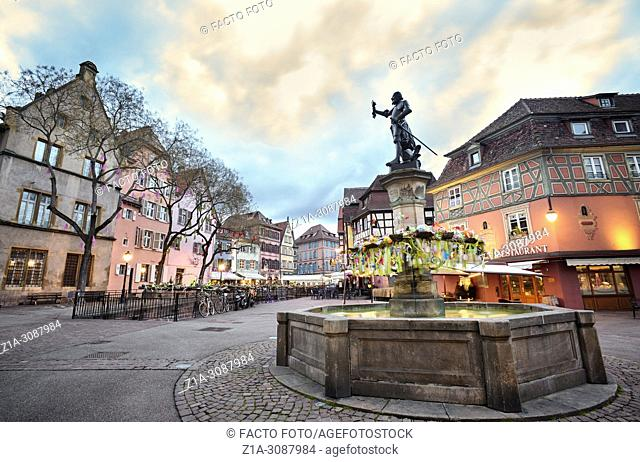 Schwendi fountain at the city center. Colmar. Alsace. Grand Est. France.